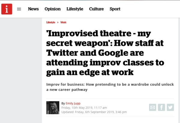 Picture of an inews.co.uk exert: Improvised theatre - my secret weapon